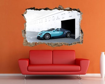 Bugatti Veyron Stick 3D Wall Crack Bugatti Prints Car Sticker Bugatti  Sticker Sportcar Supercar Decal Garage