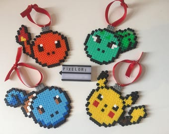 Pokemon Christmas Bauble Set Hama Beads Xmas Pikachu Charmander Squirtle Bulbasaur