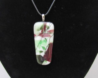 Sale; Burgundy and Green Geometric Penant; Fused Glass Necklace; Fused Glass Jewelry; Unique Jewelry; Valentines Gift  PLB138