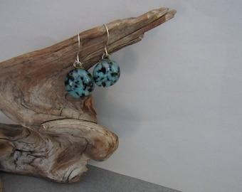Sale;Cabochon Earrings 925 Sterling Ear Wires; Fused Glass Earrings; Valentines Gift/SEB08