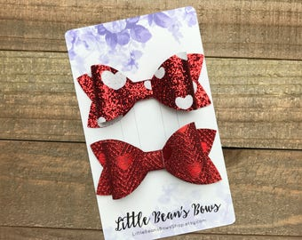 Valentine's Day Bow Set, Red Bow, Red Foil Heart Bow, Red and White Bow, White Heart Bow, Toddler Bow, Big Bow, Big Headband, Baby Bow