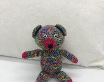 Small Crochet Teddy Bear, Amigurumi Bear, Rainbow Teddy bear Plush Toy, Crocheted Bear, 100% Wool Yarn