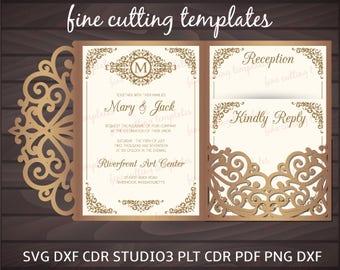 Tri Fold pocket envelope cutting template 5x7, Wedding Invitation Digital Instant Download, Cricut, Cameo cutting files (svg, dxf, studio3).