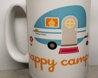 Coffee mug 15 oz Happy Camper, Camping