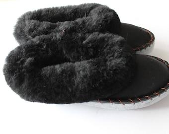 Men black sheepskin slippers leather