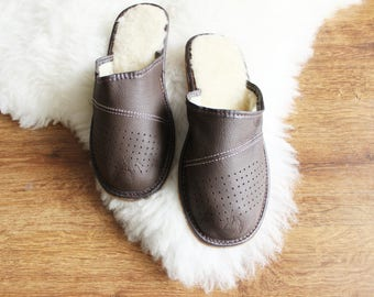 SHEEPSKIN slippers for men  LEATHER moccasins fur warm winter shoes brown footwear suede leather slippers with sole shearling gift for men