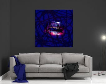 Canvas Print,Abstract Wall Art,Canvas Art,Abstract Lips, Art Print,Ready to Hang,Large Canvas Print, Modern Print, Add a Kiss to your Home!