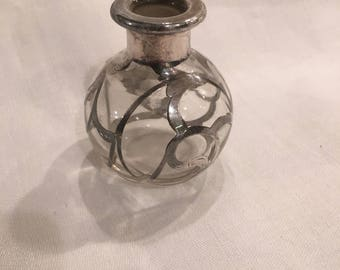 Vintage, Antique Perfume Bottle with Sterling Silver Overlay, no stopper