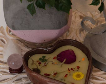 Valentine's Red Clay Heart Soy Wax Candle with Dried Flowers