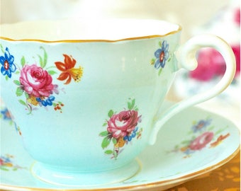 Aynsley Light Blue Floral Teacup and Saucer Fine Bone China England