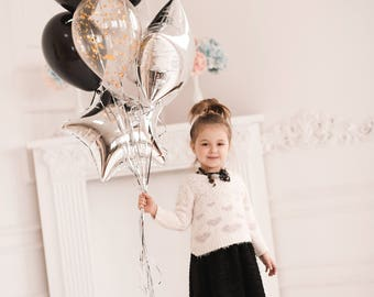 Silver and Black Balloon Bouquet - Silver and Gold Balloon Bouquet - Elegant Balloon bouquet