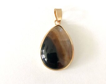 1 Pc, Agate Gem Stone Pendant,  Rose Gold Plated,  18x25 mm,