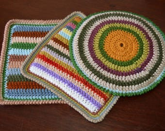 Crochet Pot Holder, Crochet Potholder, Hot Pad, Oven Mitt, Pot Stand, Coaster, Kitchen Cookware, Home Decor, Baking, Trio, Cotton, Gift