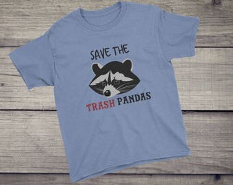 Save the trash pandas T-Shirt cute funny raccoon animal tee tshirt Kids Children Boys Girls Youth Short Sleeve T-Shirt gift for niece nep