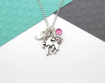 Personalized Horse Necklace, Custom Pony Charm Necklace, Personalised Swarovski Birthstone & Initial Name Gift