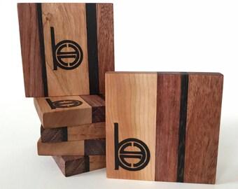 Hardwood Coasters (Set of 6) Butcherblock-Style