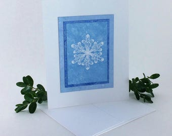 Snowflake blues embossed blank card, individually handmade: A2, notecards, fine cards, let it snow, winter card, SKU BLA21032