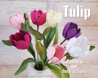 Crochet Tulip Flower Pattern Plant  Decoration Home Garden Handmade Easter Spring Purple Pink  Red Yellow White