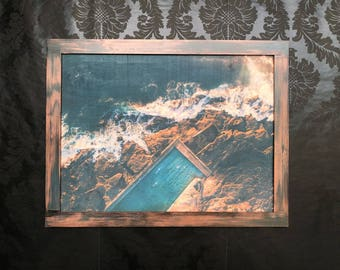 Wood Print Art for Wall Pool in the Sea Design/Handmade Framing/Rustic Wood/Handmade Frame Painting/Free Shipping/Decoration/Unique Gift