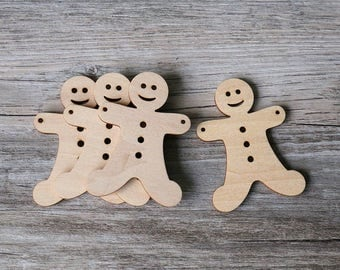 Unfinished Gingerbread man ornament,blank wood ornament for Christmas,DIY Crafting Wood Ornament Shape,wood Christmas blanks