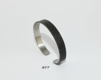 Stingray Leather Bracelet Stainless Steel