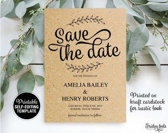 Save the Date Template, Save the Date Card, Save the Date Editable Printable, Wedding Printable, Rustic Wedding, PDF Instant Download, W02