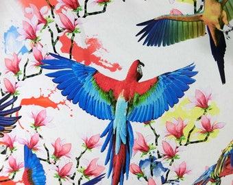 Digital fly bird printed faux silk satin fabric 156cm Width for dressmaking, Decor by the meter YGST-5029