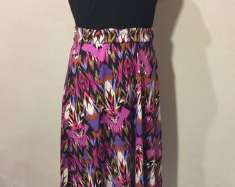 Magenta & Black Midi Skirt