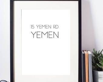 Yemen | Friends TV Show | Gift | Print | Funny | Best Friend Gift | Minimalist | Modern