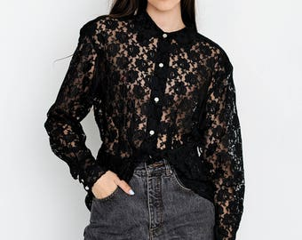 VINTAGE Black Floral See Through Long Sleeve Retro Shirt