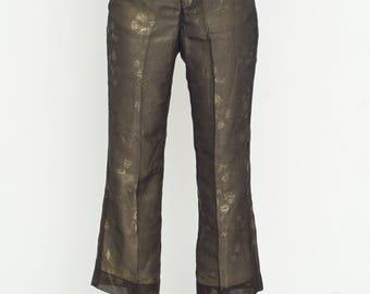 VINTAGE Black Gold Floral Wide Leg Retro Trousers