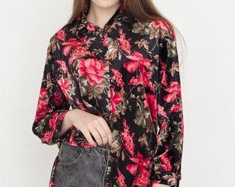 VINTAGE Black Velvet Floral Pattern Long Sleeve Retro Shirt