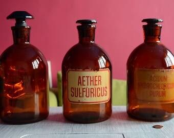 Vintage pharmacy glass bottle - EXTRA LARGE - round