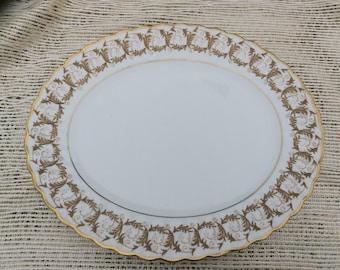 Vintage Rare Gladstone Gold Scroll pattern English Bone China Large Serving Platter