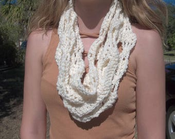 Crocheted Infinity Scarf, Infinity Scarf, Christmas Scarf, Child Scarf, Gift Under 20, Gift For Her, Hair Ties