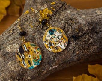 Handmade Klimt Kiss Earrings