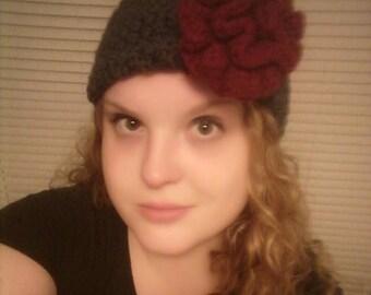 Gray Headband/Earwarmer with Burgundy Flower