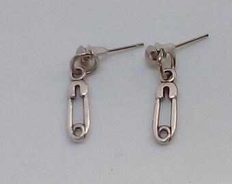 Handmade Tibetan Silver safety/nappy pin stud earrings.