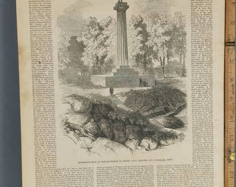Monument to Henry Clay, Erected at Pottsville, Pennsylvania 1853. Large Antique Engraving.