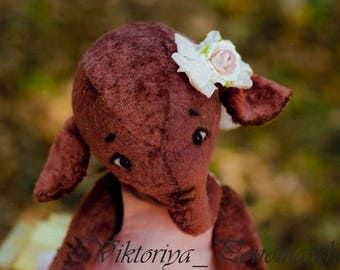 Elephant, Plush elephant, Artist teddy bear, Stuffed animal, Bear Teddy OOAK, Elephant handmade, Collection teddy elephant, Home decor