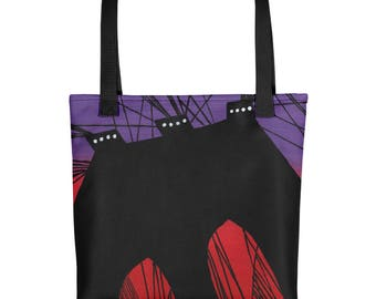 The Brooklyn Bridge - Amazingly beautiful full color tote bag with black handle featuring children's donated artwork.