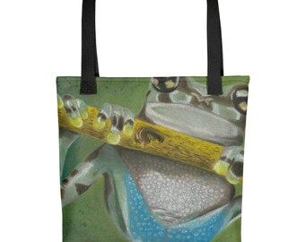 Tree Frog - Amazingly beautiful full color tote bag with black handle featuring children's donated artwork.