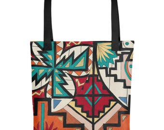 Navajo Pattern - Amazingly beautiful full color tote bag with black handle featuring children's donated artwork.