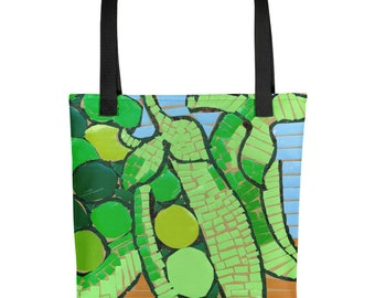 Peas Mosaic - Amazingly beautiful full color tote bag with black handle featuring children's donated artwork.