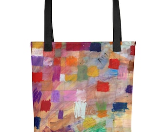 Color Grid - Amazingly beautiful full color tote bag with black handle featuring children's donated artwork.