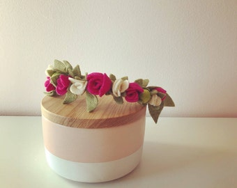 fuchsia petite flower crown | felt flower headband
