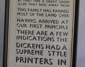 "Letterpress-Printed ""Gill Shadow"" Framed Type Sample"