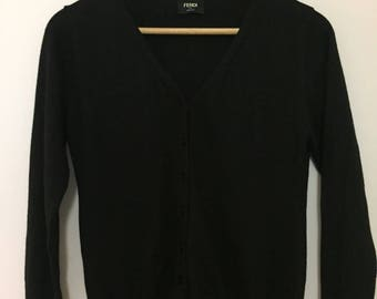 Women Black Cardigan with buttons