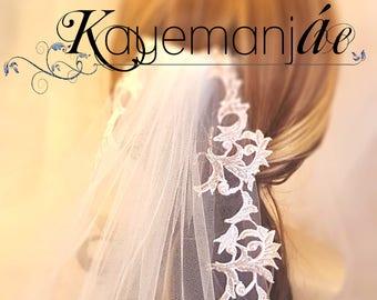 Elbow Bridal Veil / Crystal and Pearl Veil / Bridal Veil with Crystals / Beaded Elbow Veil / Beaded Lace Wedding Veils / Elbow Length Veil