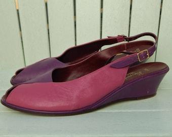 HIPPOPOTAMUS Purple Pink Leather Peep Toe Sandals Shoes ~ Vintage 1980s 80s Wedge Heel, Sling Back, Color Block Mules ~ Womens size 9.5 10 M